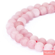"Natural Stone Dull Polish Matte Rose Pink Quartz Beads 16"" Strand 4 6 8 10 12 14MM Pick Size For Jewelry Making MRPQB01(China)"