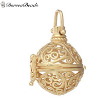 DoreenBeads Round Hollow Flower Copper Wish Box Pendants (Fits 16mm Beads) 35mm x 21mm, 2 PCs