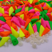 JUNAO 15mm Mix Color Pyramid Studs and Spikes Plastic Punk Rivet Bullet For Leather Crafts Clothes Decorations 200pc