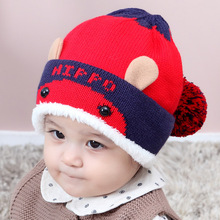 CAMITU Baby Hat With Pompom Winter Cartoon Christmas Gifts For Kids Knitted Hats Ears Chinese Wholesale 1-3 years(China)