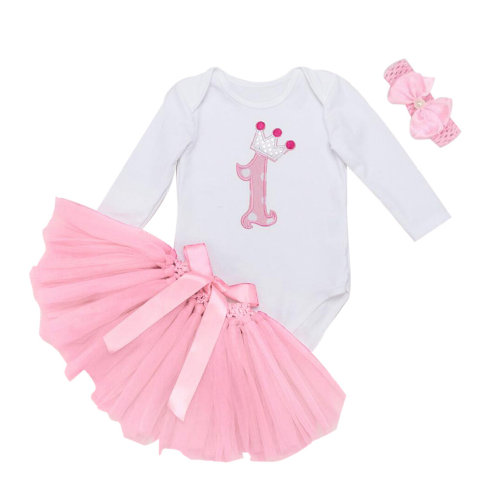 3PCs per Set  Long Sleeves Pink Baby Girl 1st Birthday Dress Crown Party Outfit Romper Bubble Skirt Headband<br><br>Aliexpress