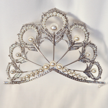 2017 Giant Big Pageant European Design Rhinestones Pearls Miss Universe Tiaras and Crowns,Peacock Iris Men's Crown(China)
