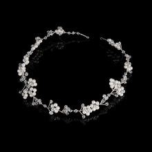 Handmade Floral Pearl Wedding Headpiece Tiara Bridal Headband Crystal Pearl Hair Accessories Vintage Women Headband SL