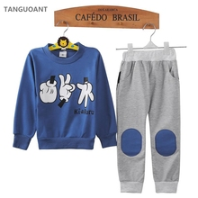 TANGUOANT New 2017 Spring And Autumn Baby Kids Boys Finger Games Sport Tracksuits 2pcs Outfit Sets 1-8Y(China)