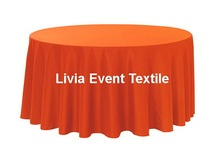 "5pcs Extra Thicker Orange 132"" Round Polyester Plain Table Cloth,Round Cloth For Wedding Event&Party&Hotel Decoration"