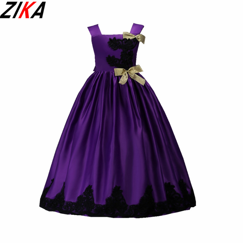 ZIKA Baby Girls Dress Solid Wedding Party Princess Dress Autumn Style Lace Appliques Design For Children Halloween Clothes 3-14T<br>