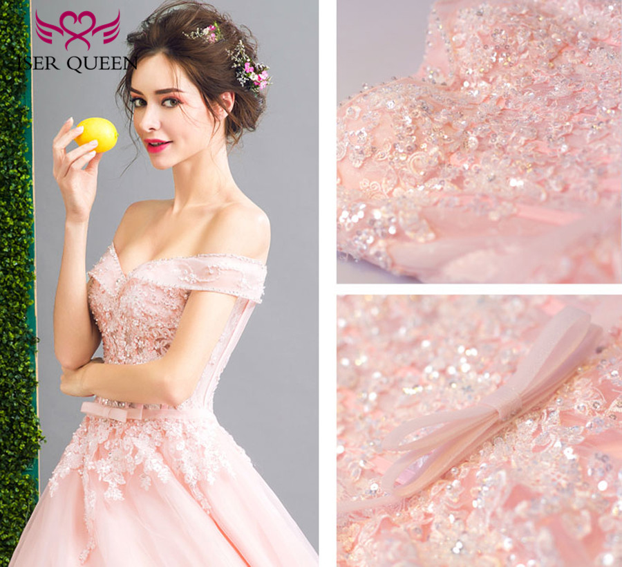 French Style Ball Gown Pink Wedding Dress 2019 New Cap Sleeve V neck Embroidery  Beading Plus Size Bridal Wedding Gown WX0130