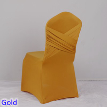 Gold colour universal lycra chair covers two cross spandex swag back cover chair luxury wedding party decoration on sale