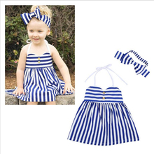 2016 New Design Children Toddler Kid Girl One Piece Dress Blue Striped Backless Dresses Puffy Dress with Headband Clothing set(China)