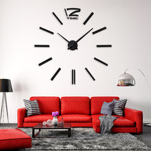 2017 3D Real Big Wall Clock Rushed Mirror Sticker Diy Living Room Decor Fashion Watches Quartz Clocks Digital Large Wall Clock