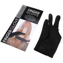 Black Heat Resistant Hairdressing Three Fingers Glove Hair Straightener Curling Hairdressing 3 Finger Gloves Hair Styling Tools(China)