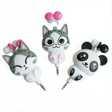 Panda Cat Cartoon retractable earphones for mobile phone computer cartoon in ear headsets Canaltype stereo earphone with box