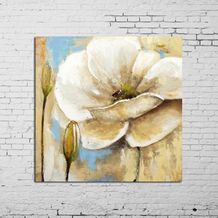 100 Hand Painted Abstract Wall Pictures For Living Room White Flowers Oil Painting On Canvas