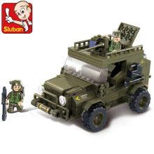 SLUBAN Building block set Compatible With Lego land forces Army jeep 221 pcs 3D Construction Model Bricks Toys for Children