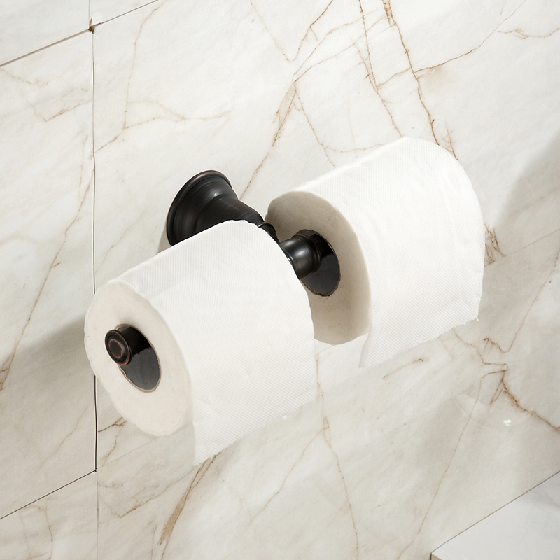 Black Oil Bronze Tissue Rack Black Retro Brushed Stainless Steel Bathroom Pendant Double Toilet Paper Holder<br>