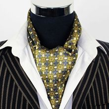 Fashion Brand  New  Mens 100% Silk  Scarf  Long  Silk  Scarf  Cravat Scarives Double Layer  Yellow Dot