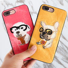 3D Cute Embroidery Lovely Dog Covers For iPhone 6 6s Plus 7 Plus 8 Plus X Case Teddy pug HUSKY Pet Hard PC Handmade Phone Case