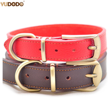Soft Genuine Leather Pet Dog Collar Gold D-ring Buckle Flexi Hand Stitched Collar For Medium Large Dogs Brown Red(China)