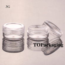 100PCS/LOT-3G Cream Jars,Clear Plastic Makeup Sub-bottling,Empty Cosmetic Container,Small Sample Mask Canister,Nail Art Box(China)
