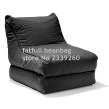 COVER ONLY , no filler - 2-in-1 Convertible Bean Bag Cover Lounger Double Seater Black