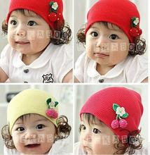 2015 Hot Sale New Girls Hat Fashion Cute Wig Children Baby Kids Cap Cherry Floral Flower Warm Winter cat cartoon