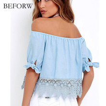 BEFORW 2017 New Fashion Women Blouses Sexy Off Shoulder Hook Flower Hollow Lace Blouse Tops Summer Casual Club Big Size Shirts(China)