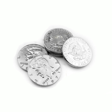 5pcs/lot Half Dollar Coin Magic Tricks (Silver color) magic coin Accessories Gimmick Magic Tricks Props Toys free shipping 81132