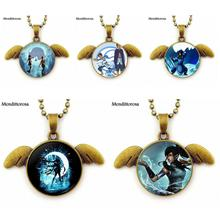 Water Tribe Jewelry With Glass Cabochon Necklace Choker Bronze Angel Wings Pendant Long Necklace For Women Handmade Girls(China)