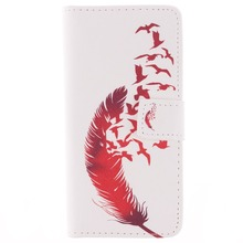 Red Feather Pattern Faux Leather Flip Case with Stand for iPhone 6 6S 4.7(China)