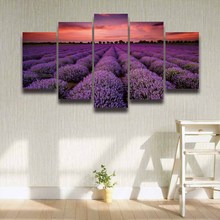 Printed purple lavender flower sunset farm landscape picture canvas painting for wall decor bedroom Canvas art artwork gift 5pcs