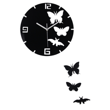 Living Room Decorative Wall Sticker Clock DIY Acrylic Mirror Wall Clock Butterfly Shape Creative Gift Art Watch Horloge Mural(China)