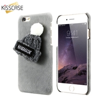 KISSCASE Winter Plush Case For iPhone 7 6 6s Plus Lovely Knitted Hat Phone Back Cover Cute Girly Christmas Capa Hard Cases shell