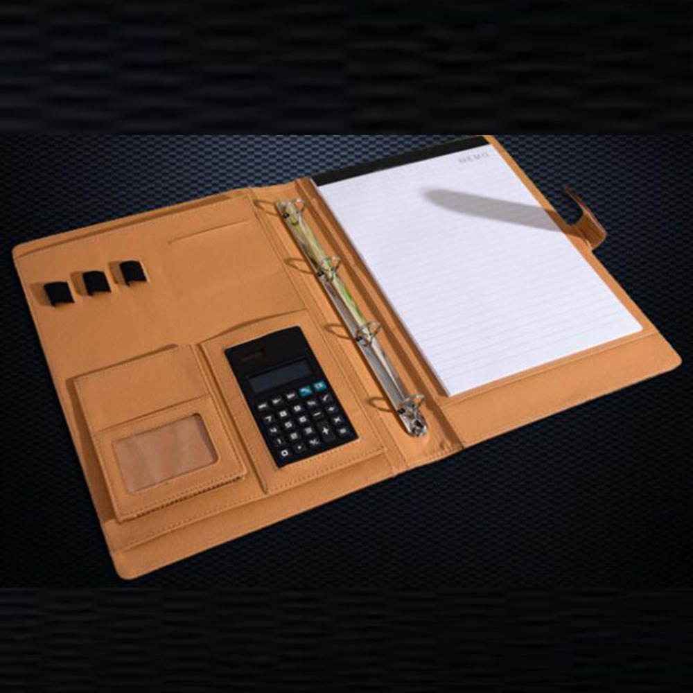 PU leather folder OFFICE multifunction organizer planner notebook ring binder A4 file folder with calculator office supplies<br>
