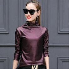 Plus size 4XL t-shirts women sexy long sleeve Turtleneck velvet t shirt female tops american apparel PU Leather t shirt Y2798