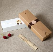 Food Accept Real Hot Sale Cardboard Box Macaron Packaging Caixa Kraft Paper Boxes Jewelry Cake Gift 100pcs/lot 23*4*7cm