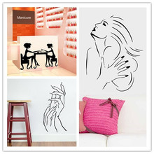 wall sticker nail bar shop hair beauty salon wall art decal diy home decoration mural removable nail polish oil store name(China)