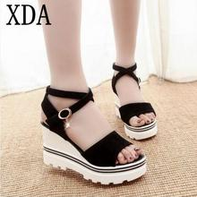 XDA 2017 Summer Korean muffin fish head women sandals with platform sandals wild simple shoes shook with students in X383(China)