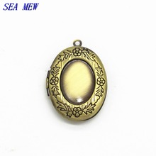 SEA MEW 18*13mm Brass Oval Locket Antique Bronze Brushed Blank Pendant Photo Frame For Jewelry Making Cabochon 10 PCS cy245(China)