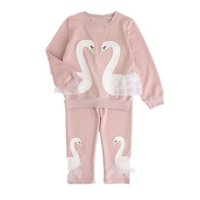 Girls Clothing Sets  New Autunm Sets Children Clothing Lovely Swan Lace Design Sweatshirts+Pants Suit For 3-7Y QQ155