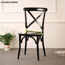 iKayaa Industrial Style Metal Kitchen Dining Chairs Stool Ergonomic Design For Dining Room US UK FR Stock(China)