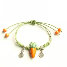 Small Carrots Pattern Ceramic Bracelet Handmade Lovely Fashion Jewelry Green Rope Cartoon Style Women Cute Popular Adorn Article(China)