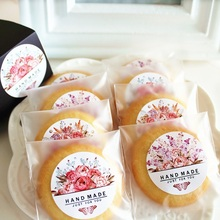 New 360pcs round Stickers rose handmade print Paper Adhesive sticker as Food Wedding packing Label Labels Gift Decoration Tag