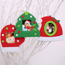 Christmas Non-woven Fabric Tree Glove Hat Photo Frame Picture Holder Frame Christmas Tree Ornaments Gift Home Decoration(China)