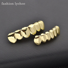 fashion lychee Hiphop Teeth Grill 3 Colors Top Bottom Grill Bling Hollow Teeth for Halloween Party Jewelry Christmas Gift(China)