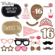 FENGRISE 20pcs 16th Birthday Party Supplies Photo Booth Props Sweet 16 Decoration DIY Funny Mask Baby Shower Kids Boy Girl