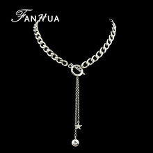 FANHUA Steampunk Silver Color Chain Long Necklace Ball Star Pendant Statement Necklace For Women Jewelry Collier Femme