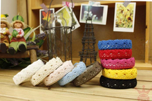 1pcs/lot New Colors Fabric Lace Tape Multifunction DIY Sticker Simple Tape Stationery Adhesive Tape Gifts(China)