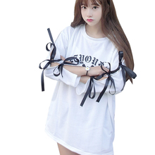 Spring Harajuku Lace UP Women T-Shirts Korean Style Ulzzang Fashion Print Letter Clothes Tee Shirts Bandage Bowknot Female Top