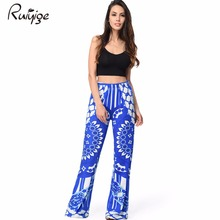 RUIYIGE 2017 Vintage Ethnic High Elastic Waist Loose Flare Pants Ice Milk Silk Fashion Women Full Length Long Pants Trousers