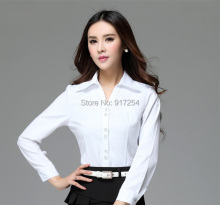 New Elegant White Spring Autumn Femininas Work Wear Blouses For Ladies Blusas Tops Clothes Business Blouse Formal Shirt Shirts